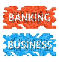 Banking Business Outline Flat Concept vector image vector image