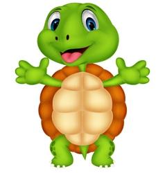 Cute turtle cartoon posing vector image vector image