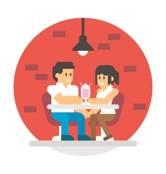 Flat design couple sharing milkshake vector image vector image