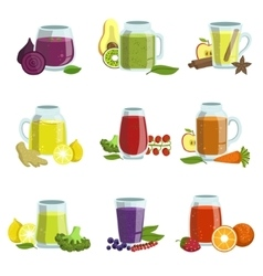 Fresh Smoothie Icon Set vector image vector image