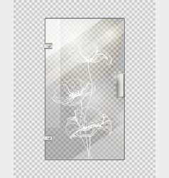 glassy entrance door on checkered background vector image