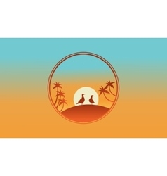 On the hill bird and palm of silhouette vector image