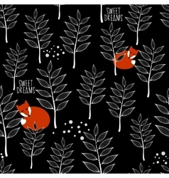 Seamless pattern with sleeping fox and winter vector image