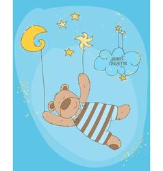 sleeping baby bear cute card vector image