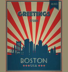 vintage touristic greeting card boston vector image