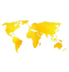 World map honeycomb pattern vector image