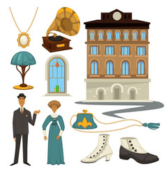 1910s symbols and retro fashion style clothes and vector