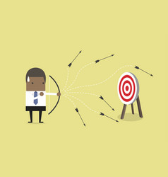 African businessman loser shooting arrow vector