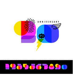 anniversary card with colorful retro numbers vector image