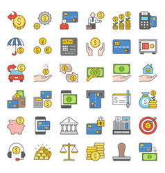 bank and financial icon filled outline design vector image