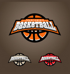 basketball championship logo t-shirt design vector image
