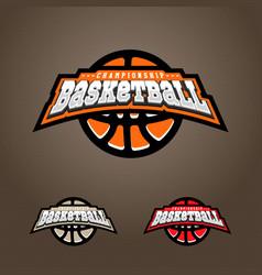 basketball championship logo t-shirt design vector image