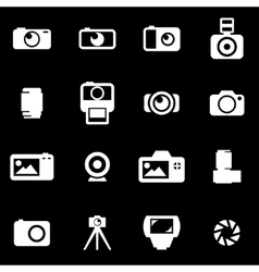 black camera icon set vector image vector image
