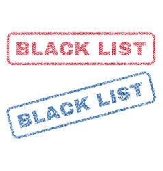 Black list textile stamps vector