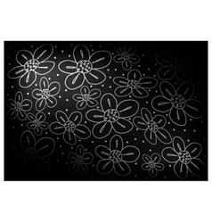 Black Vintage Wallpaper with Flower Pattern vector