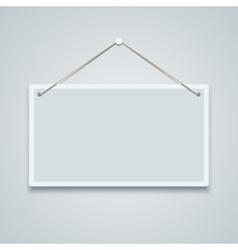 Blank sign board hanging on the wall vector image