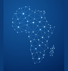 blue abstract africa communications map vector image