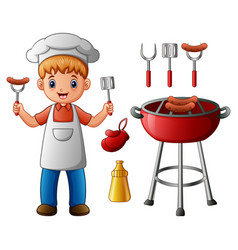 Boy and bbq party elements vector
