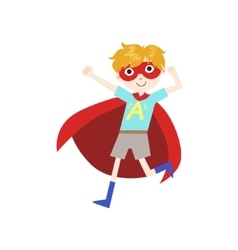 Boy in superhero costume with red cape vector