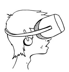 Boy wearing a virtual reality headset vector