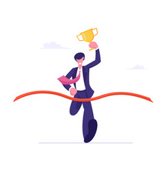 Business man holding golden goblet in hand take vector