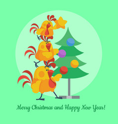 Cartoon roosters decorating christmas tree vector