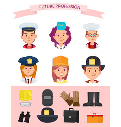 Children in uniform and their future professions vector