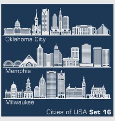 Cities usa - oklahoma city memphis milwaukee vector