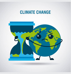 Climate change cartoon sad planet earth hourglass vector