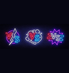 collection versus neon signs set of versus vector image
