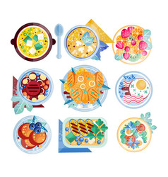 Colorful food icons plates with various dishes vector