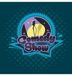 Comedy Show Concept Emblem Template Microphone vector