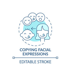 Copying facial expressions turquoise concept icon vector