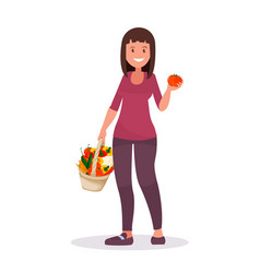 cute girl with clean foods basket organic vector image