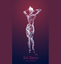 dancing girl constructed with colorful vector image