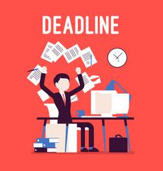 Deadline in paper work vector