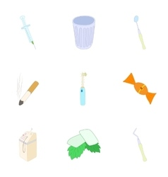 Dental treatment icons set cartoon style vector