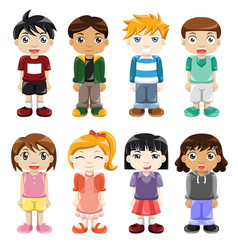 different kids expressions vector image