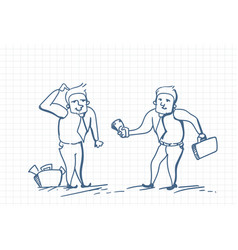 doodle business man giving money to worker paying vector image
