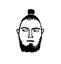 Doodle sketch man with samurai hairstyle vector