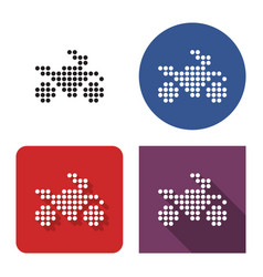 dotted icon motorcycle in four variants with vector image