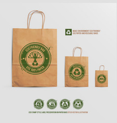 eco stamp style label presentation on paper bags vector image
