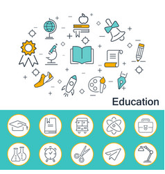education banner in flat style outline icons vector image