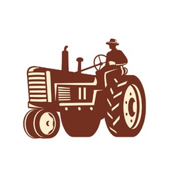 Farmer Driving Vintage Tractor Retro vector