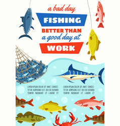 Fish in net fishery industry and fishing sport vector