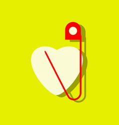 Flat icon design collection heart with a safety vector