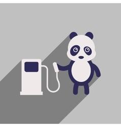Flat icon with long shadow panda cartoon vector