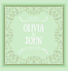 Floral and geometric monogram frame on green vector