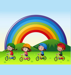 Four kids riding bike in the park vector