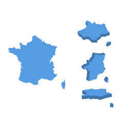 france isometric map country isolated on a white vector image